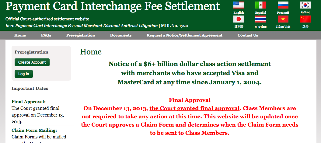 Payment Card Interchange Fee Settlement