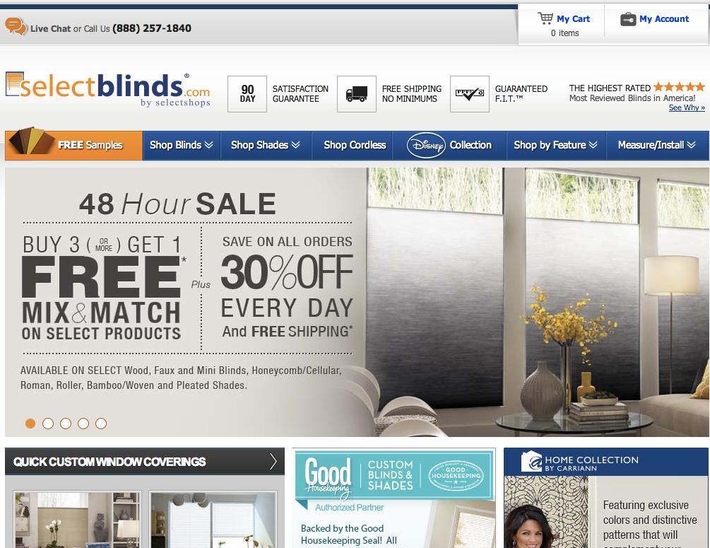 SelectBlinds Website
