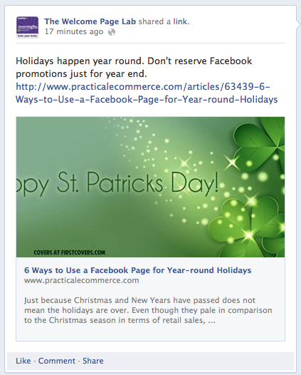 Example of link-share post that includes an image.