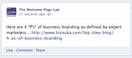 Example of Facebook link-share post with link embedded and no image appears.