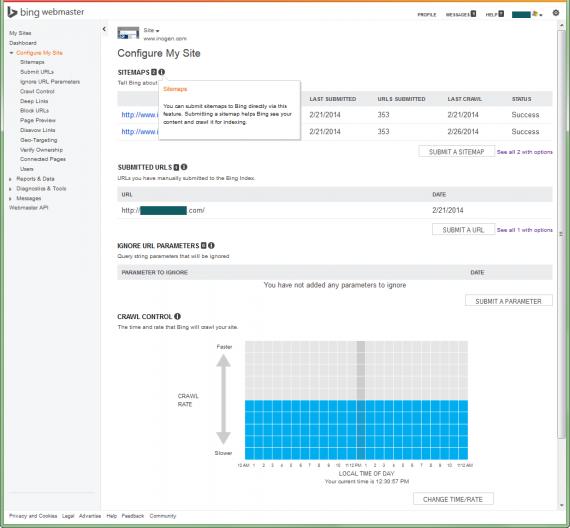 Bing Webmaster Tools Configure my Site