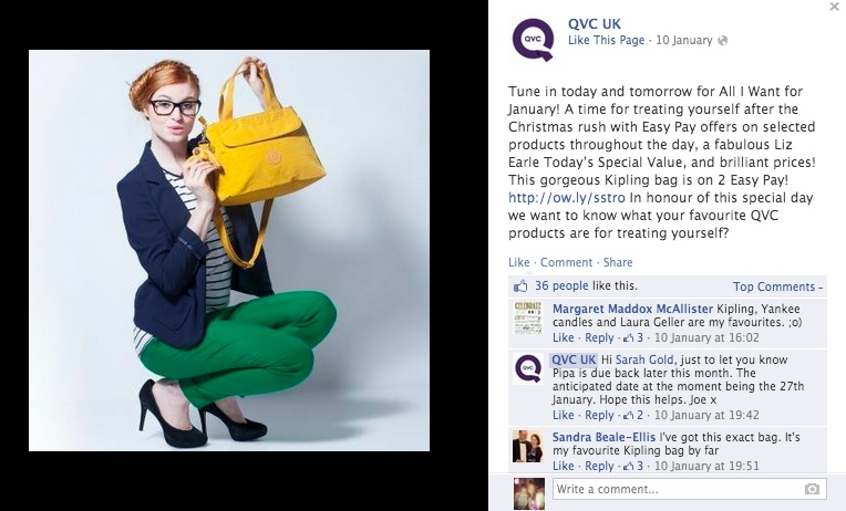 Example of a QVC Facebook post portraying a glamorous lifestyle