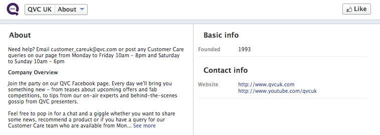 QVC lists contact info on Facebook for customers to contact them directly