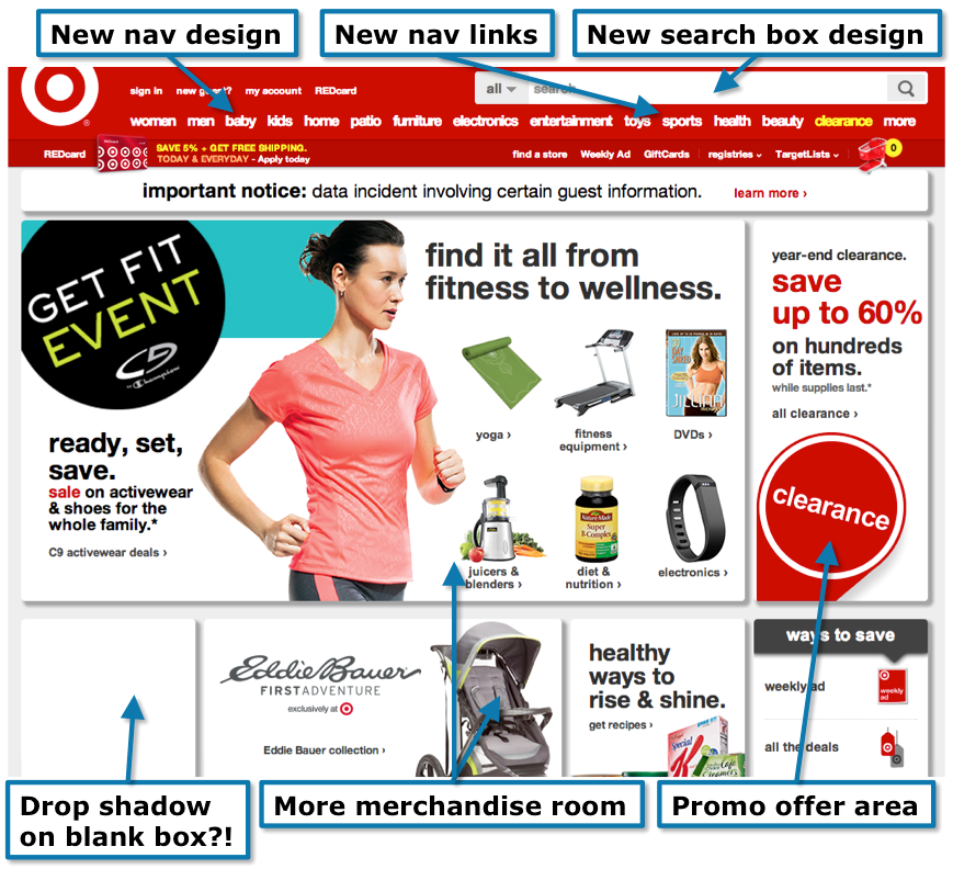 New design changes on Target's home page