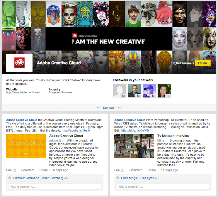 Example of Adobe Showcase Page featuring its Creative Cloud products.