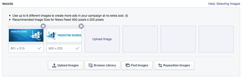 You can add up to six images for use with your ad campaign.