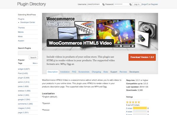 WooCommerce HTML5 Video