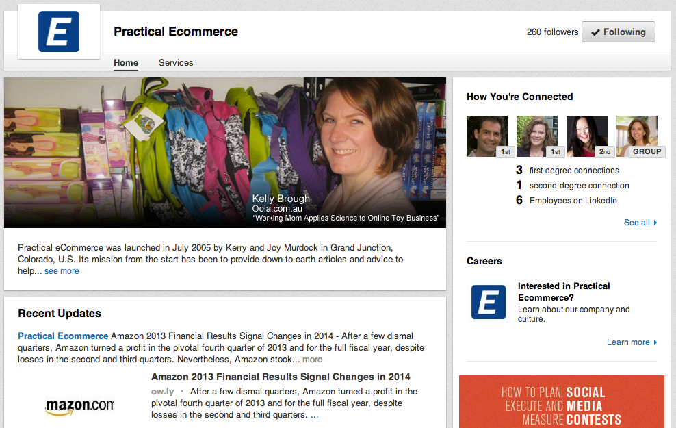 Practical Ecommerce uses a Company Page to share website content.