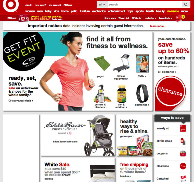 Target's new home page.