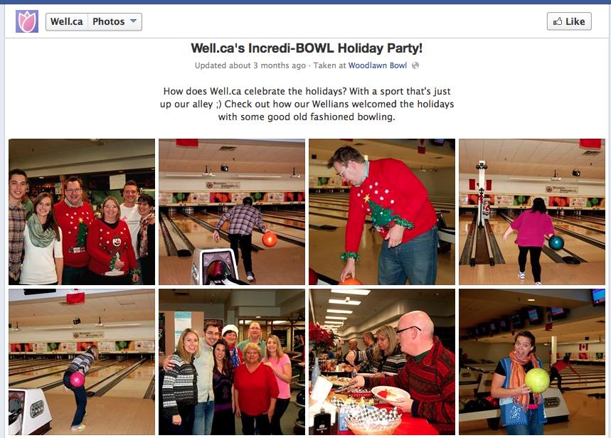 Well.ca spotlights employee activities using Facebook photo albums.