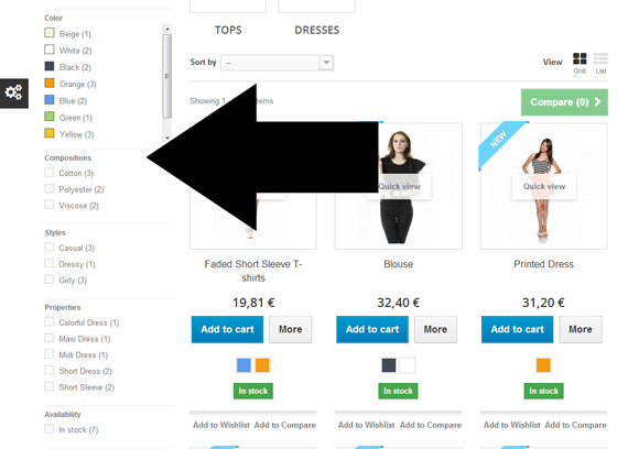 PrestaShop category navigation