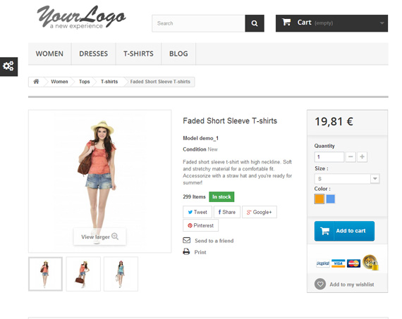 PrestaShop product detail page