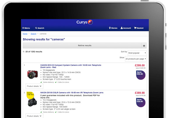 Currys is a good example of responsive design in search results.