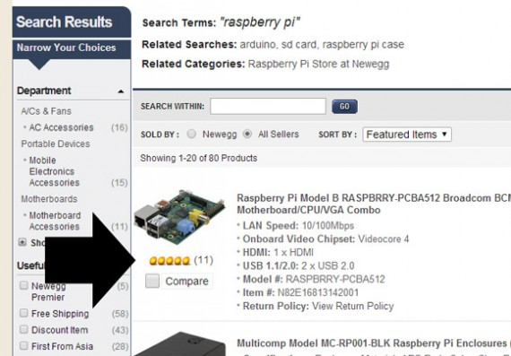 Newegg sorts search results by best reviews.
