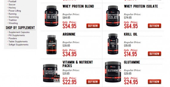 Protein Co. allows users to add items to cart directly from search results.
