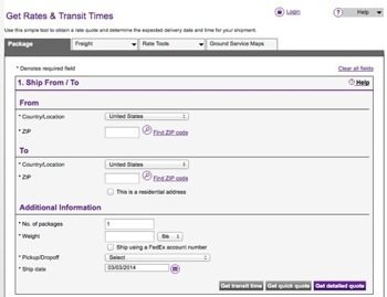 FedEx Rates & Transit Times Calculator page