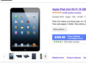 Searching iPad Mini Retina on Google, Comparison Engines