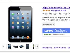 Searching iPad Mini Retina on Google, Comparison Engines