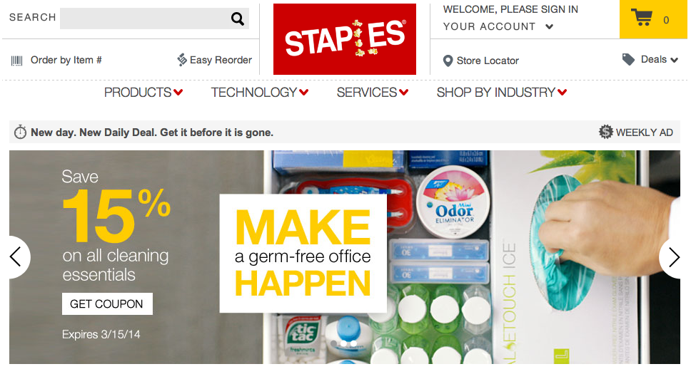 Staples home page