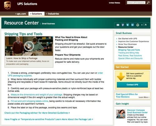 UPS Small Business Solutions website