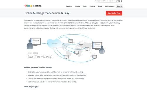 Zoho Meeting website