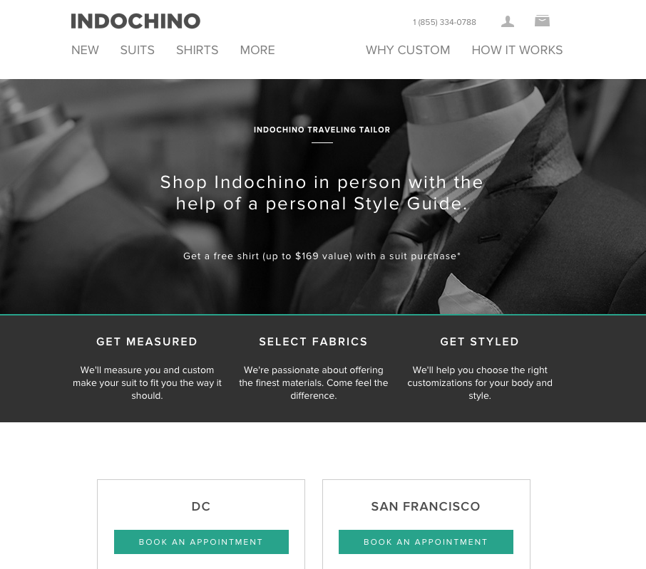 Indochino full-size booking page