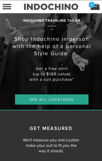 Indochino mobile-size booking page
