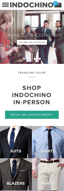 Indochino mobile-sized homepage