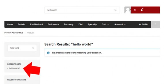 "Using the product search for a post entitled ""Hello world"" yields no results, which could be confusing."