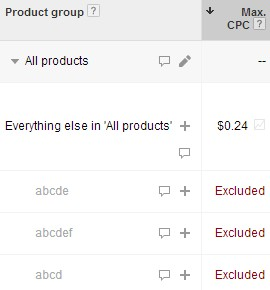 Exclude product IDs