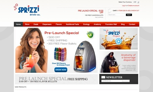 Sprizzi Drink Co website