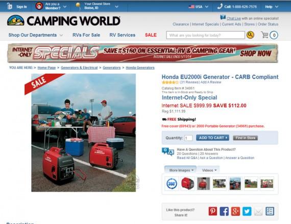 Camping World Honda generator