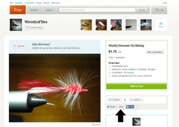 Etsy has a Pinterest button on every product page, between a button for Twitter and one for Facebook.