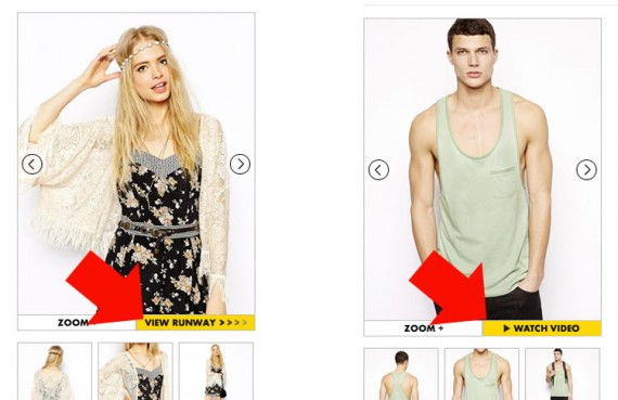 "ASOS uses labels to appeal to specific customer segments, such as ""View Runway"" versus ""Watch Video."""