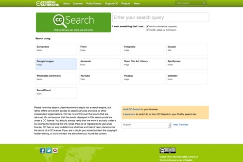 Creative Commons Search website