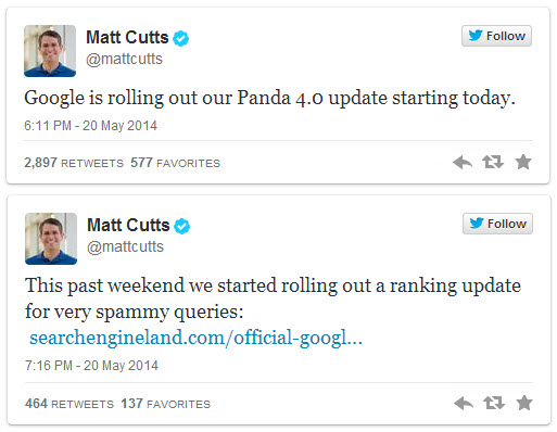 Matt Cutts Panda 4 Payday Loans 2 Tweets