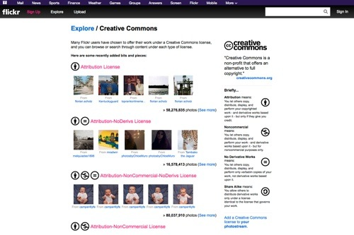 Flickr Creative Commons website