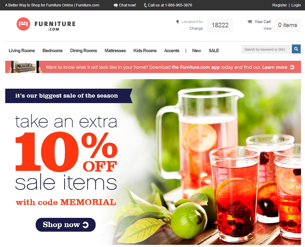 Furniture.com utilizes a static banner, not rotating.