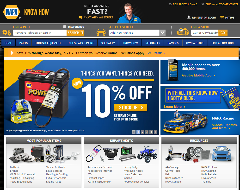 Napa.com home page, with callout boxes to right of main battery image — addressing mobile access, the know-how blog, and NAPA racing.