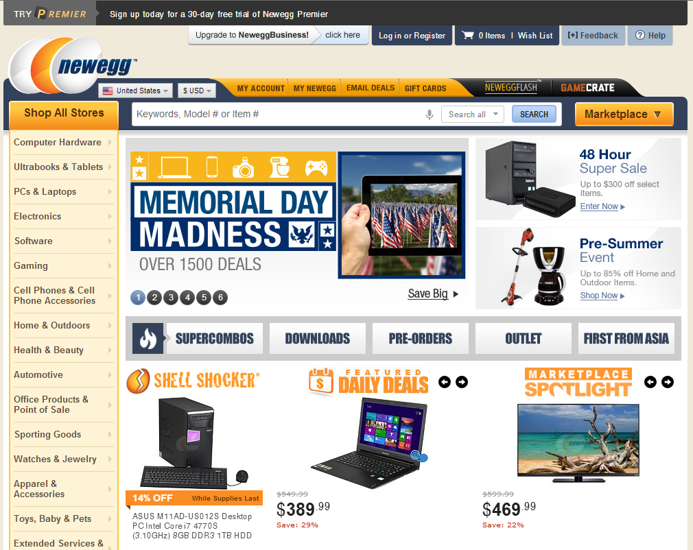 "Callout boxes at Newegg.com — ""Shell Shocker,"" ""Featured Daily Deals,"" and ""Marketplace Spotlight."""