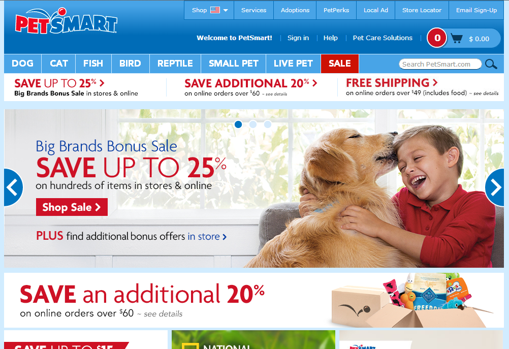 "Rotating banners on Petsmart.com — ""Big Brands Bonus Sale."""