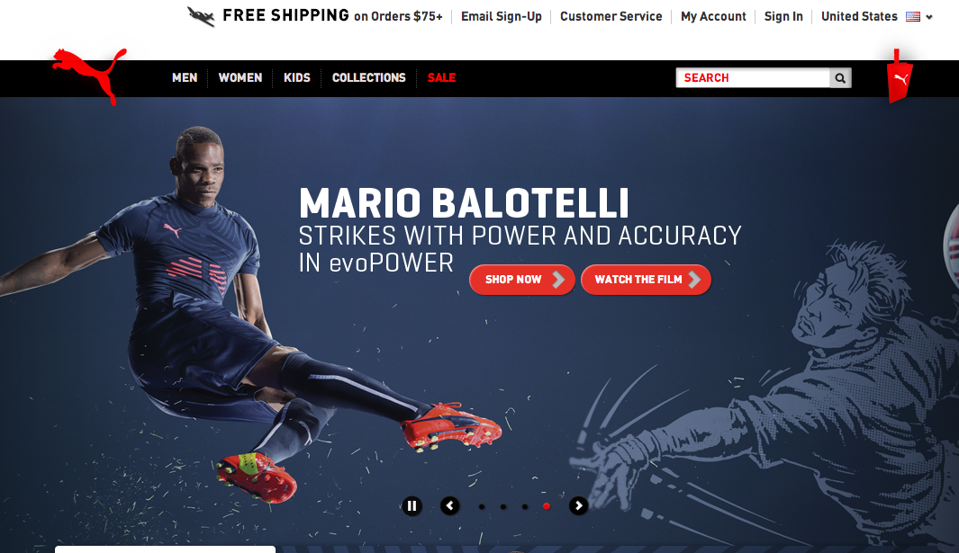 Puma sells its products directly to consumers via its own ecommerce site.