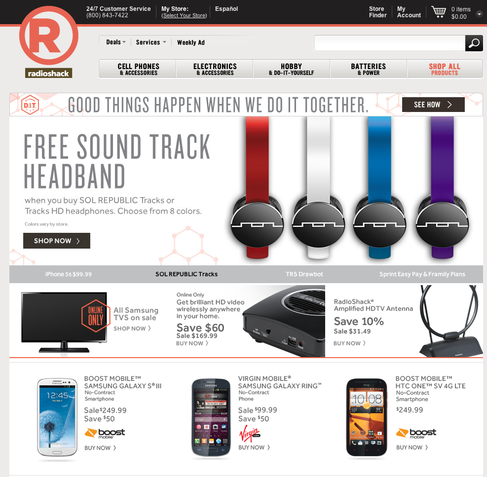 RadioShack.com utilizes three callout boxes to promote Boost Mobile and Virgin Mobile phones.