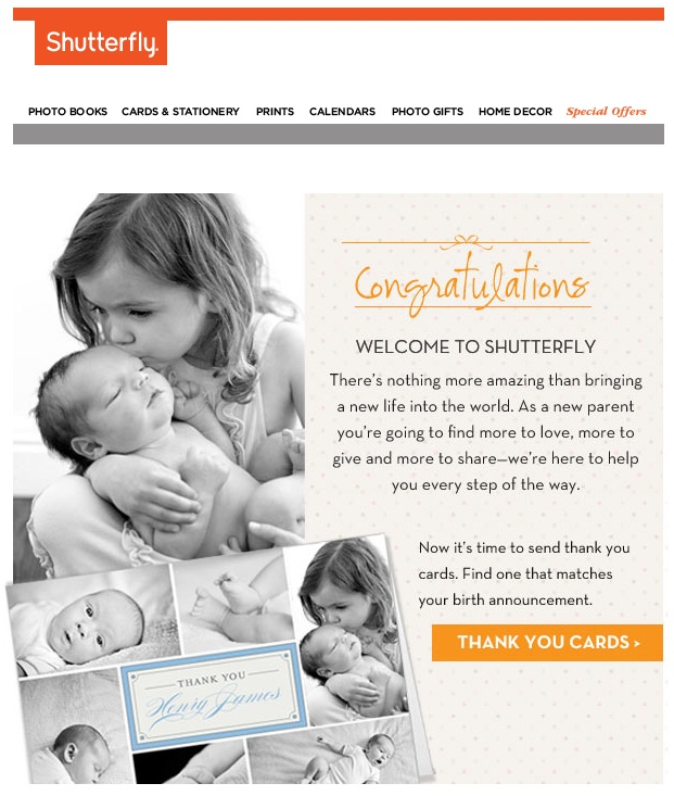 A recent, misdirected email from Shutterfly