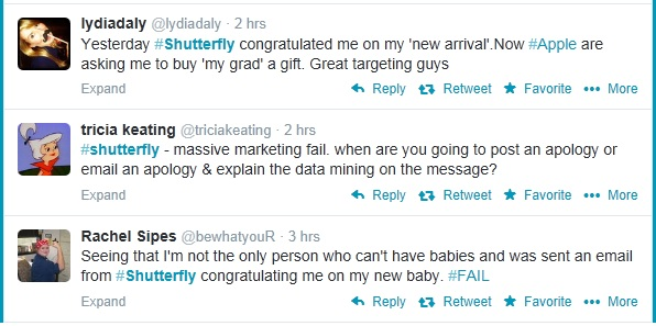 Angry tweets directed towards Shutterfly