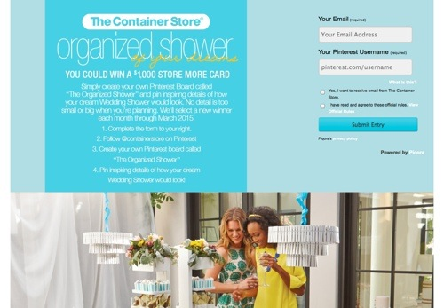 The Container Store's Pinterest Contest.