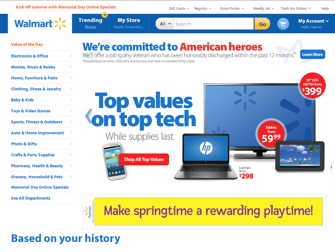 "Walmart.com utilizes rotating banners on its home page — ""Top Values on Top Tech."""