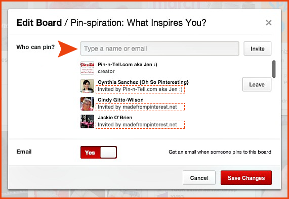 """Invite"" screen for a group board."