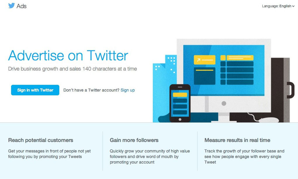 Log into the advertising console using your Twitter account credentials.