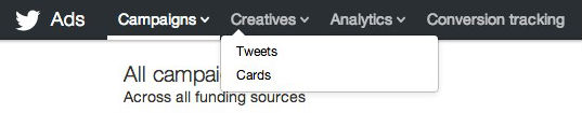 Twitter Card options appear under the Creatives header link.